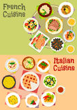 Italian and french cuisine dishes icon set design. Italian and french cuisine dishes icon set of pasta with sausage, cream cheese sauce, tomato egg pie, seafood Royalty Free Stock Photography