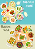 Italian and french cuisine dishes icon set Stock Image