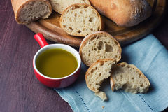 Italian fresh bread   and olive oil Stock Photography