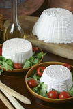 Italian fresh cheese. Selection of italian fresh cheese and ricotta on wood background Royalty Free Stock Photo