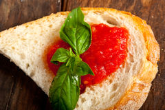 Italian fresh tomato and basil bruschetta Royalty Free Stock Photo