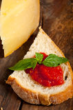 Italian fresh tomato and basil bruschetta Royalty Free Stock Images