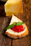 Italian fresh tomato and basil bruschetta Stock Photography
