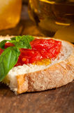 Italian fresh tomato and basil bruschetta Stock Photo