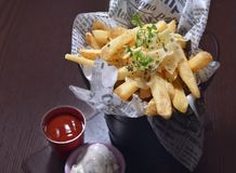 Potato Wedges. Italian Fried potato wedges with sauce stock images