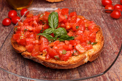 Italian Frisella With Tomatoes And Basil Royalty Free Stock Photo