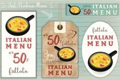 Italian Ravioli Stickers Set. Italian Frittata Stickers Set on Blue Wooden Background in Retro Style. Vector Illustration Stock Photos