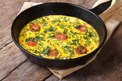 Italian frittata with tomatoes and herbs in the pan Royalty Free Stock Photos
