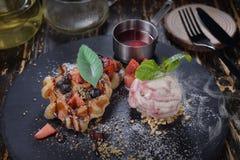 Ice-cream waffle mixed berry royalty free stock photos
