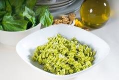 Italian fusilli pasta and pesto Stock Image