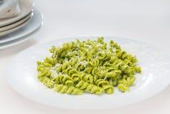 Italian fusilli pasta and pesto Royalty Free Stock Image