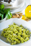 Italian fusilli pasta and pesto Royalty Free Stock Photo