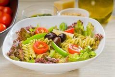 Italian fusilli pasta salad stock photos