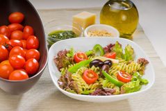Italian fusilli pasta salad Stock Photo