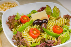Italian fusilli pasta salad Royalty Free Stock Photo