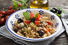 Italian Fusilli pasta with swordfish Royalty Free Stock Photography