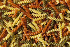 Italian fusilli tricocolore close up Stock Images