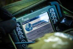 Italian future soldier project the portable pc. Italian future soldier project with the wearable pc or portable pc by selex Royalty Free Stock Images