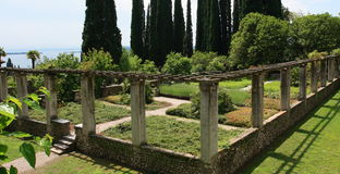 Italian garden. Gabriele D Annunzio II Vittoriale's garden stock images