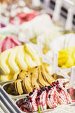 Italian gelato gelatto ice cream display in shop Stock Photos