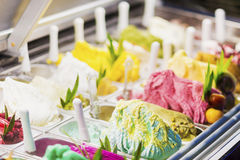 Italian gelato gelatto ice cream display in shop Royalty Free Stock Photography