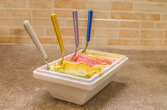 Italian gelato ice-cream. A bowl of italian crafted Gelato ( or icecream Royalty Free Stock Photos