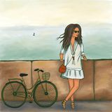 Italian girl with a bicycle on the waterfront stock illustration