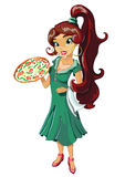Italian girl with pizza. In a green dress Royalty Free Stock Photos