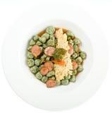 Italian Gnocchi. Spinach potato gnocchi with sausage and courgette stock photos