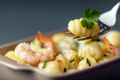 Italian gnocchi pasta with prawns Royalty Free Stock Photos