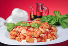 Italian gnocchi Sorrento style. Traditional italian gnocchi with fresh basil leaves Royalty Free Stock Photos