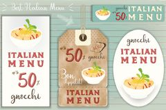 Italian Gnocchi Stickers Set. On Blue Wooden Background in Retro Style. Vector Illustration Stock Photos