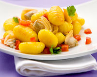 Italian gnocci dumplings with clams Stock Photography