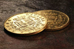 Italian gold coins Royalty Free Stock Image