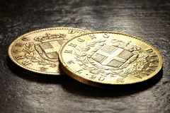Italian gold coins Royalty Free Stock Photo