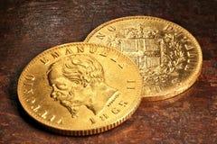 Italian gold coins Royalty Free Stock Photos