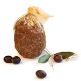 Italian gourmet food - salami and olives stock image