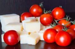 Italian grana padano and tomatoes Stock Photo