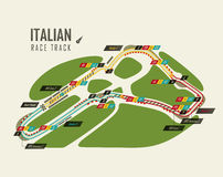 Italian grand prix Monza race track for formula 1. Or f1. Detailed racetrack or national circuit for motorsport and formula1 qualification. May be used for Royalty Free Stock Image