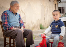 Italian grandfather and grandson Stock Image