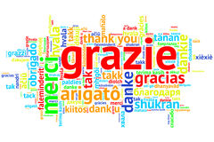 Italian - Grazie, Open Word Cloud, Thanks, on white Royalty Free Stock Photo