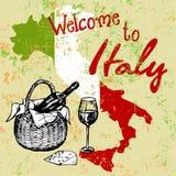 Italian grunge background with vine Stock Photo