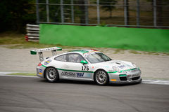 Italian GT Cup Ebimototors Porsche 911 racing at Monza. Ebimotors Team faces the first race of the 2016 Italian GT Cup with his Porsche 911 (997) Cup royalty free stock photography