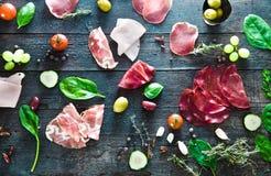 Italian ham on wood Royalty Free Stock Photography