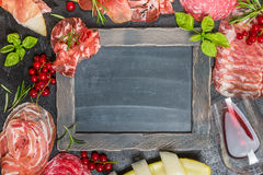 Italian ham, prosciutto and salami with melon. Royalty Free Stock Photography