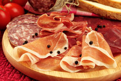 Italian ham and salami Royalty Free Stock Images