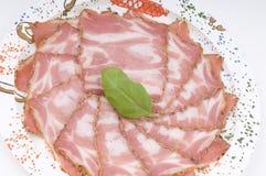 Italian ham sausage closeup Stock Images