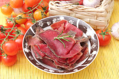 Italian Ham. Some fresh italian ham with spices Royalty Free Stock Images