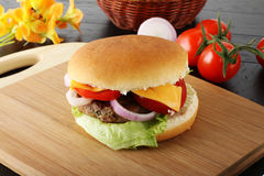 Italian hamburger with meat, cheese and onion Royalty Free Stock Photography