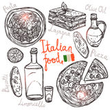 Italian Hand Drawn Food Collection Royalty Free Stock Photos